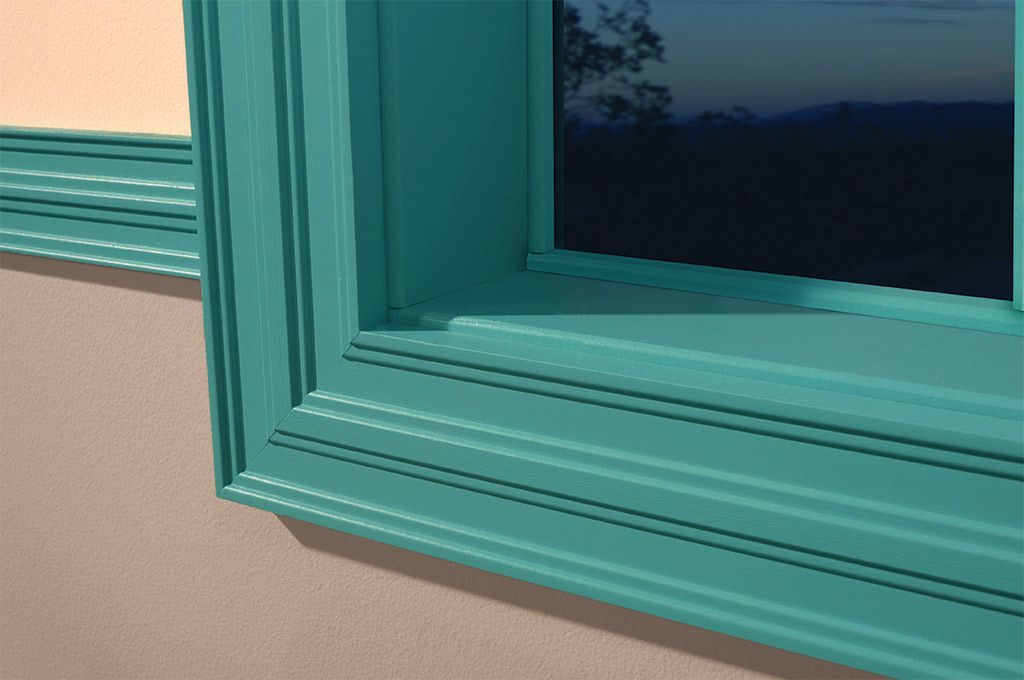 Green Ferche molding on window jamb